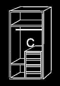 Modulo de interior de armario C, cajonera a la 1/2