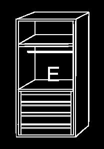 Modulo de interior de armario E, con cajonera