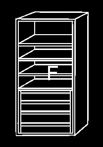 Modulo de interior de armario F, con cajonera y baldas