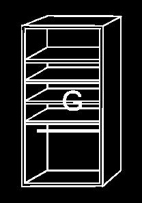 Modulo de interior de armario G, con baldas y barra