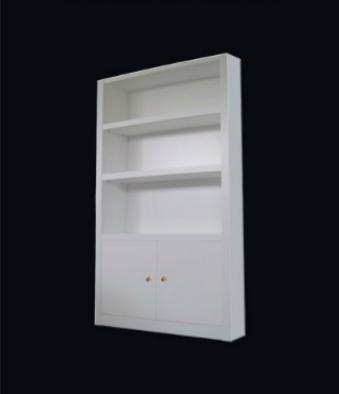 Muebles epecial modular, lacado en blanco, con puertas abatibles y baldas, de diseño moderno