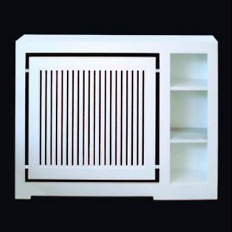 Cubreradiador especial a medida, lacado en blanco, con baldas y lamas en vertical