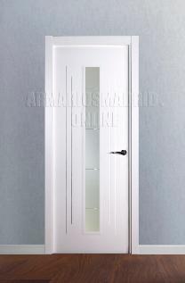 Block puerta lacada en blanco modelo fresado pico de gorrión vidriera 1 VE. Oferta, ARTEVI, PROMA,SAN RAFAEL