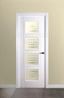 Block puerta de interior lacada en blanco modelo 2 fresados pico de gorrión Vidriera 4VOferta, ARTEVI, PROMA, SAN RAFAEL.