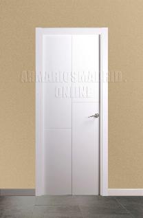 Block puerta de interior lacada en blanco modelo 3 fresados pico de gorrión ciega. Oferta, ARTEVI, PROMA, SAN RAFAEL
