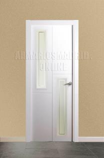 Block puerta de interior lacada en blanco modelo 3 fresados pico de gorrión Vidriera 2V. Oferta, ARTEVI, PROMA, SAN RAFAEL