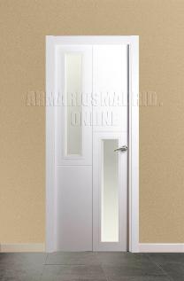 Block puerta de interior lacada en blanco modelo 3 fresados pico de gorrión Vidriera 2 VE.Oferta, ARTEVI, PROMA, SAN RAFAEL