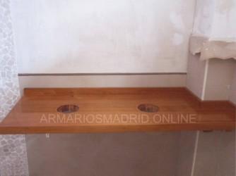 Encimera de baño a medida en madera maciza de jatoba
