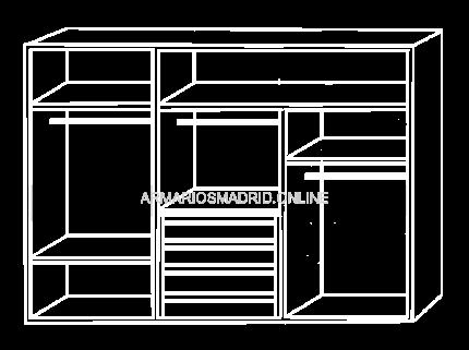 Interior de armario modular, modelo Palermo, con cajonera y baldas