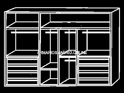 Interior de armario modular, modelo Calabria, con cajonera, zapatero y baldas