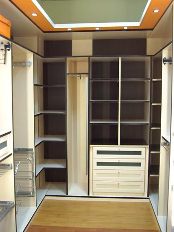 armario vestidor esquinero en u en melamina blanco y negro