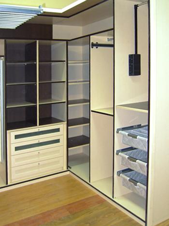 armario vestidor esquinero a medida en u en melamina blanco y negro