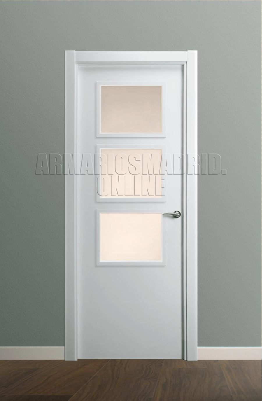 Puerta Modelo liso lacada vidriera V3