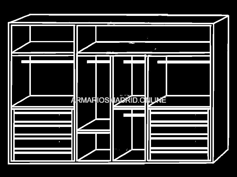 interior de armario modular modelo calabria con cajonera zapatero y baldas