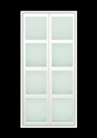 Frente de armario abatible lacado blanco con cristal mate.