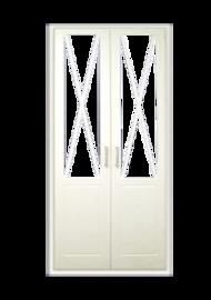 Frente de armario abatible lacado blanco en aspa con cristal mate.