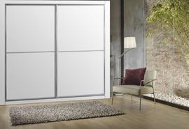 Armario economico de puertas correderas en melamina blanca, con perfiles en aluminio