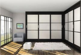 Armario empotrado en esquina, de puertas correderas en blanco y negro