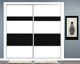 Armario empotrado en melamina blanca con fajas asimétricas en negro