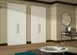 Armario empotrado lacado blanco, economico, de puertas correderas, fresado, modelo mapi, diseño moderno