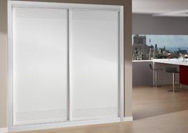 Armario empotrado lacado blanco, de puertas correderas, fresado rejilla, diseño moderno