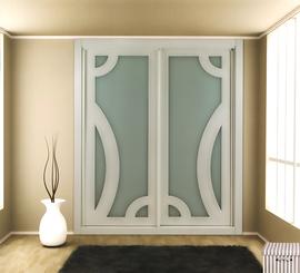Armario de diseño moderno, corredera, lacado en blanco combinado con cristal