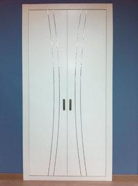 Frente de armario lacado en blanco con incrustaciones en aluminio