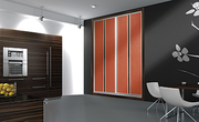 Frente de armario de puertas corredera perfilería sport aluminio anodizado japonesa vertical cristal lacobel chocolate/melamina rojo