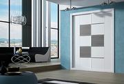 Armario empotrado de puertas correderas, a medida,  perfilería fine aluminio anodizado, japones horizontal vertical melamina blanca/melamina gris.