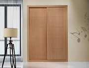 Frente de armario a medida de puertas correderas, perfilería sport haya vaporizada, puerta mod mara haya vaporizada barniz.
