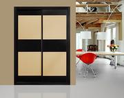 Armario ropero de puertas correderas a medida,  perfilería sport negra, puerta cristal negro/ cristal salmon, decoracion japonesa negra.