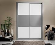 Frente de armario  a medida de puertas deslizantes perfilería sport plata, hoja melamina aluminio/blanca, decoración japonesa plata.