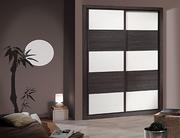 Frente de armario  a medida de puertas correderas perfilería four nogal, puerta melamina nogal/blanca, decoración japonesa nogal.