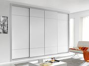 Armario ropero a medida de puertas correderas, perfilería fine blanco, puertas melamina blanca, decoración japonesa blanca.