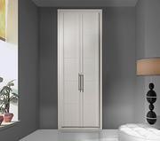 Armario empotrado a medida,  de puertas abatibles melamina blanca, decoración moldura melamina blanca/fresado pico gorrión..